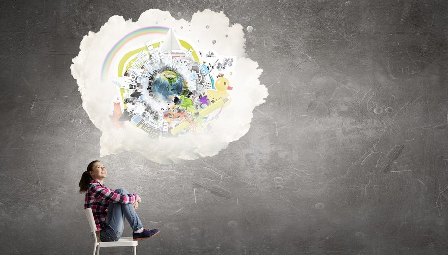 Teenager girl sitting in chair and cloud bubble above her head. Elements of this image are furnished by NASA